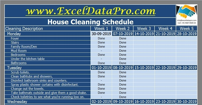 House Cleaning Schedule Excel Template