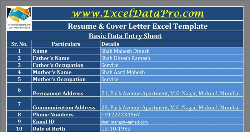 Download Resume Cover Letter Excel Template Exceldatapro