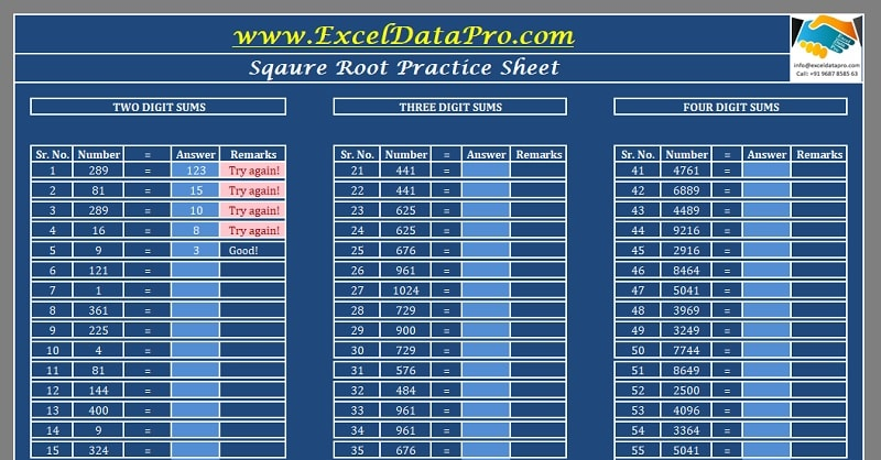 Download Square Root Practice Sheet Excel Template