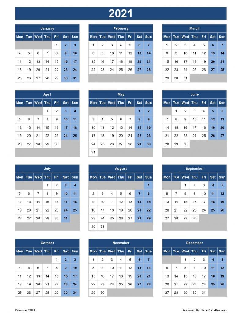 Calendar 2021 (Mon Start)