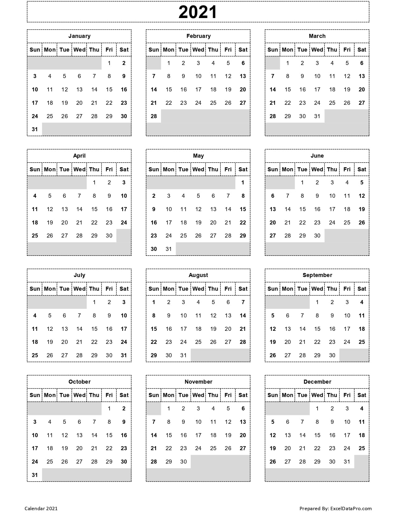 Download 2021 Yearly Calendar (Sun Start) Excel Template ...
