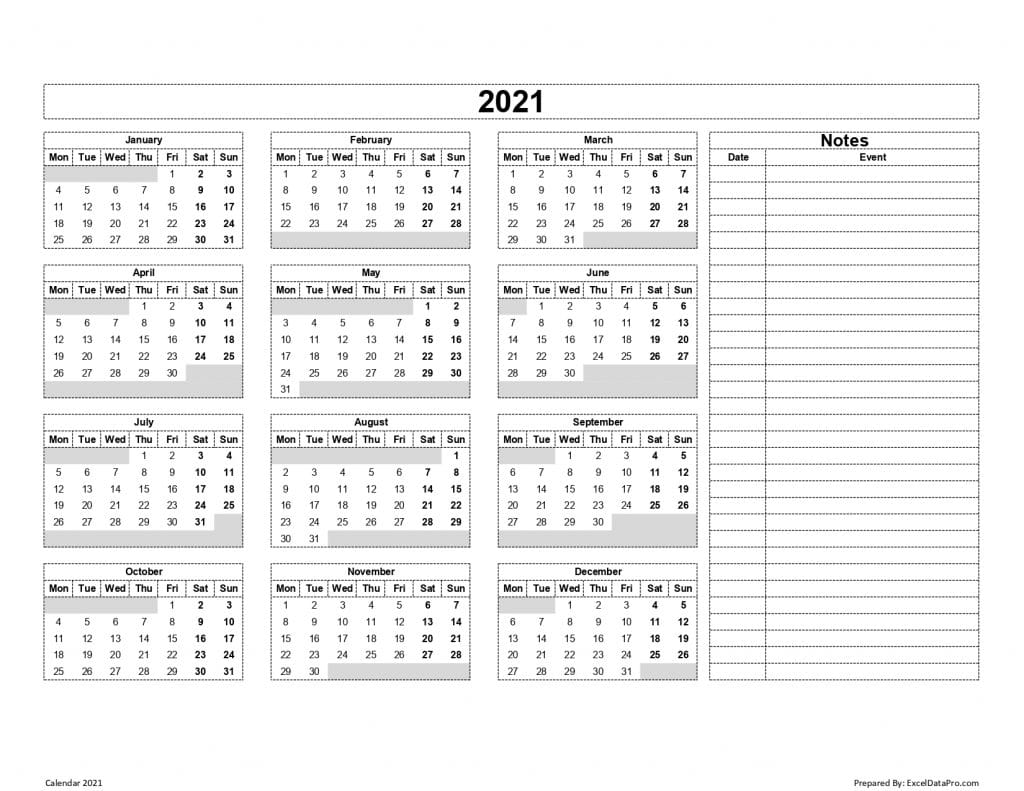 Calendar 2021 With Notes (Mon Start)