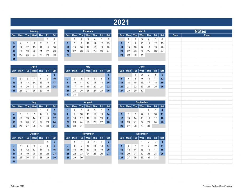 Calendar 2021 With Notes