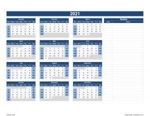 Calendar 2021 With Notes