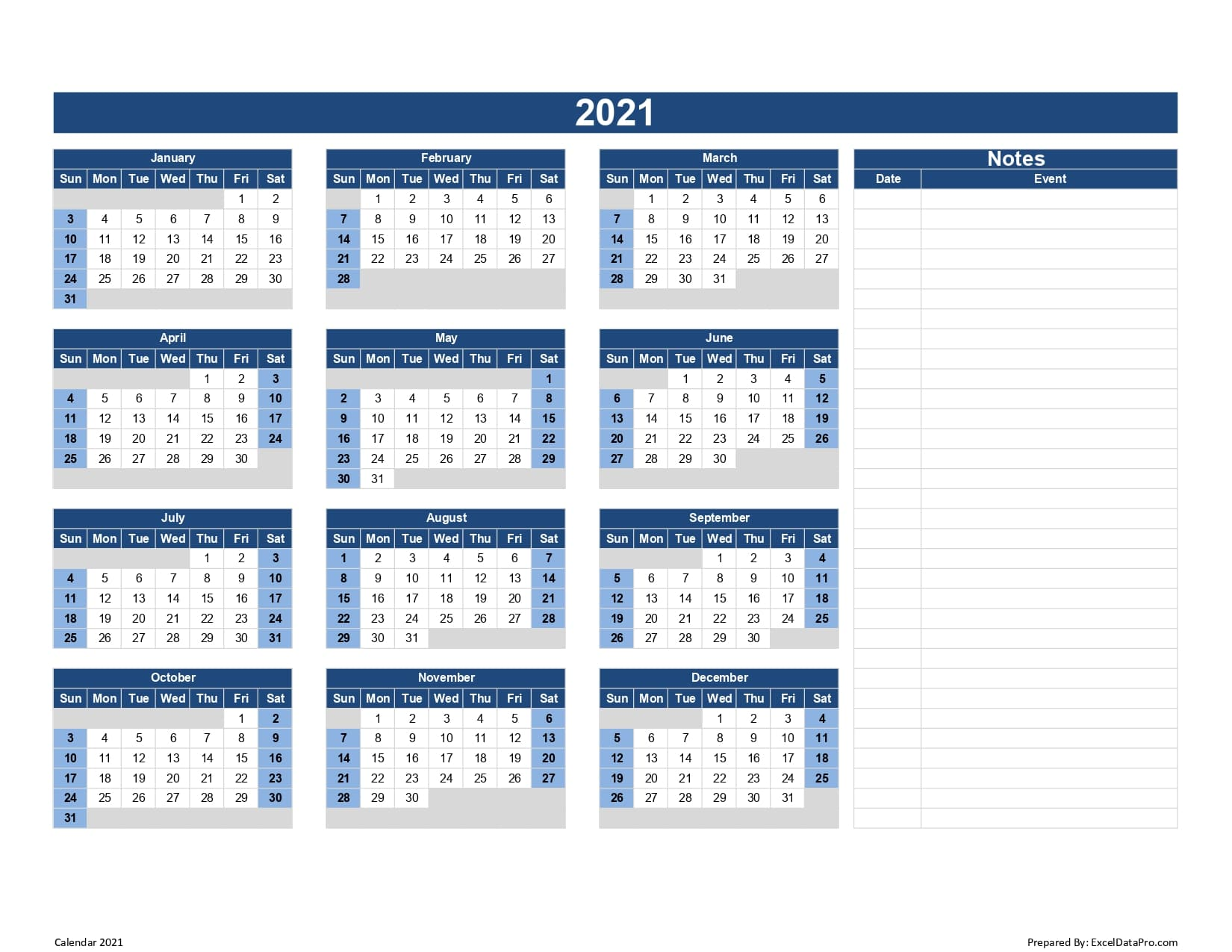 Calendar 2021 Excel Templates, Printable PDFs & Images ...