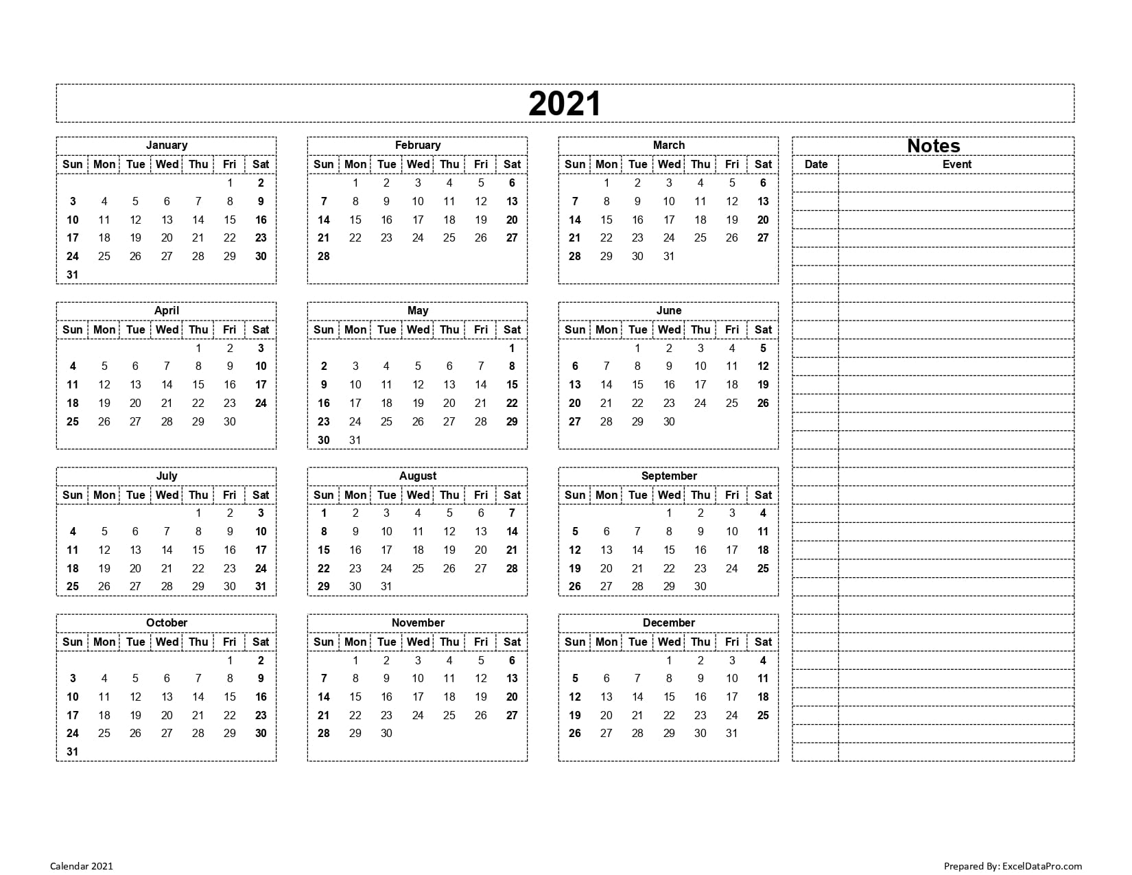 Download 2021 Yearly Calendar (Sun Start) Excel Template