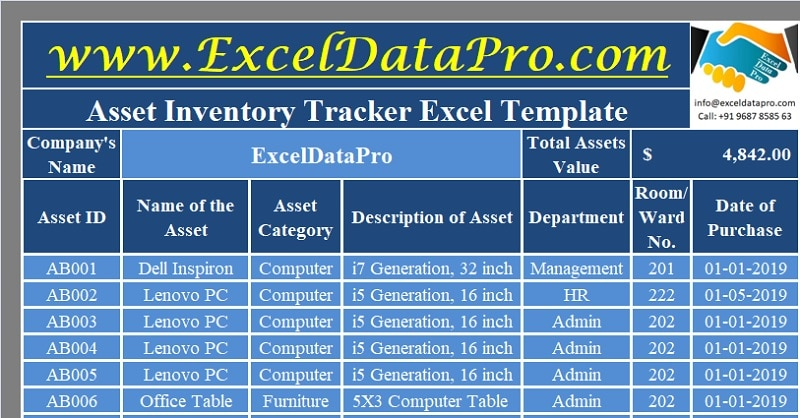 Download Asset Inventory Tracker Excel Template