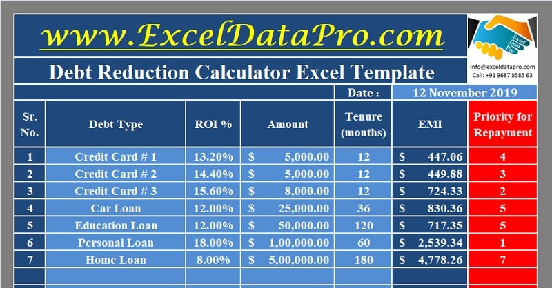 Download Debt Reduction Calculator Excel Template