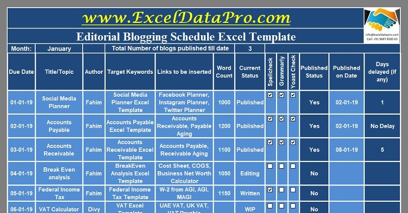 Editorial Blogging Schedule Excel Template