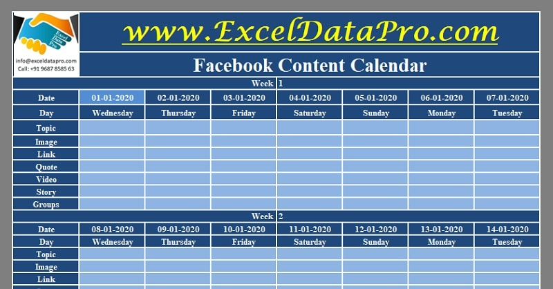 Download Facebook Content Calendar Excel Template