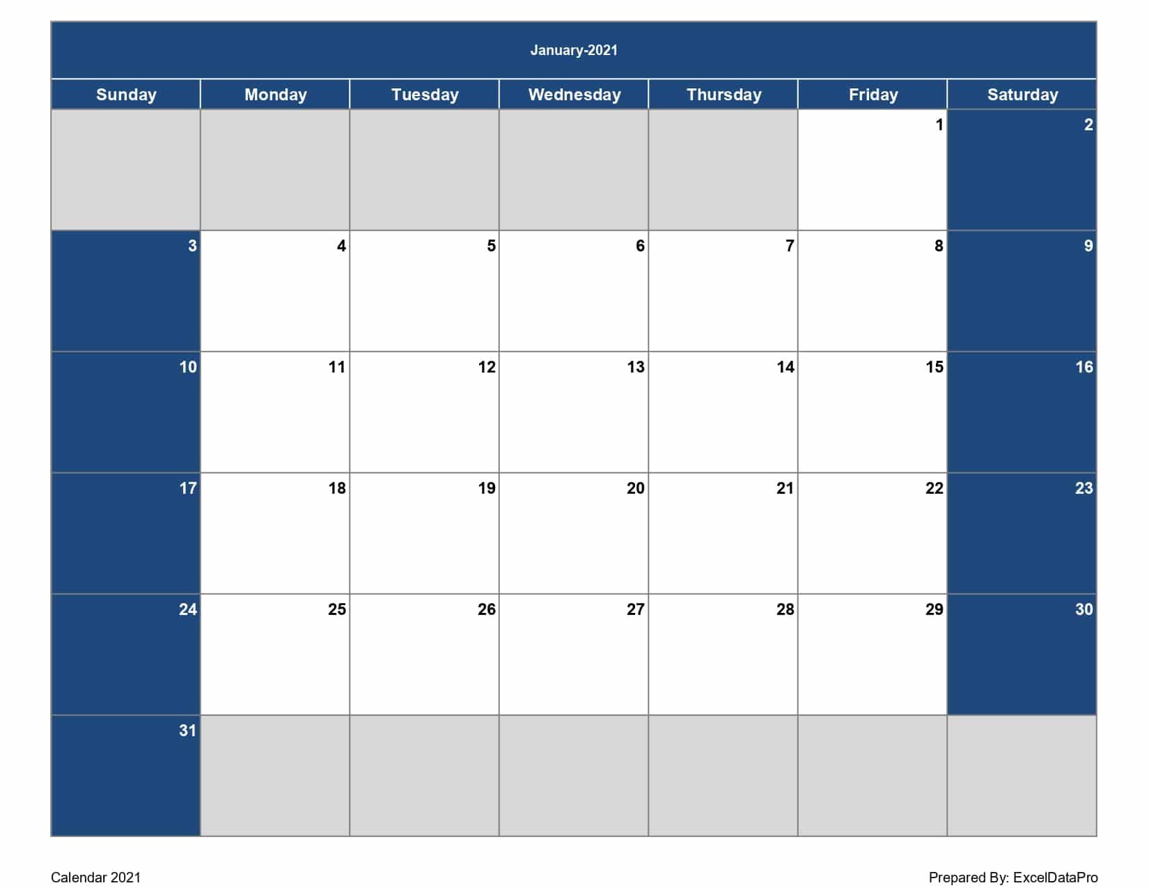 Download 20 Monthly Calendar Sun Start Excel Template ...