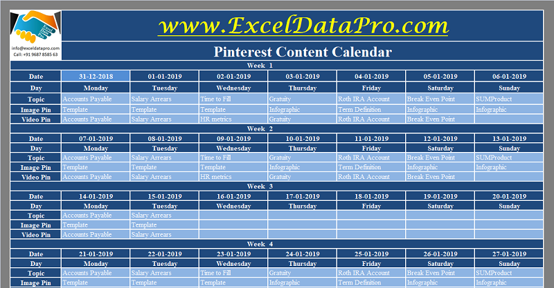 Download Pinterest Content Calendar Excel Template