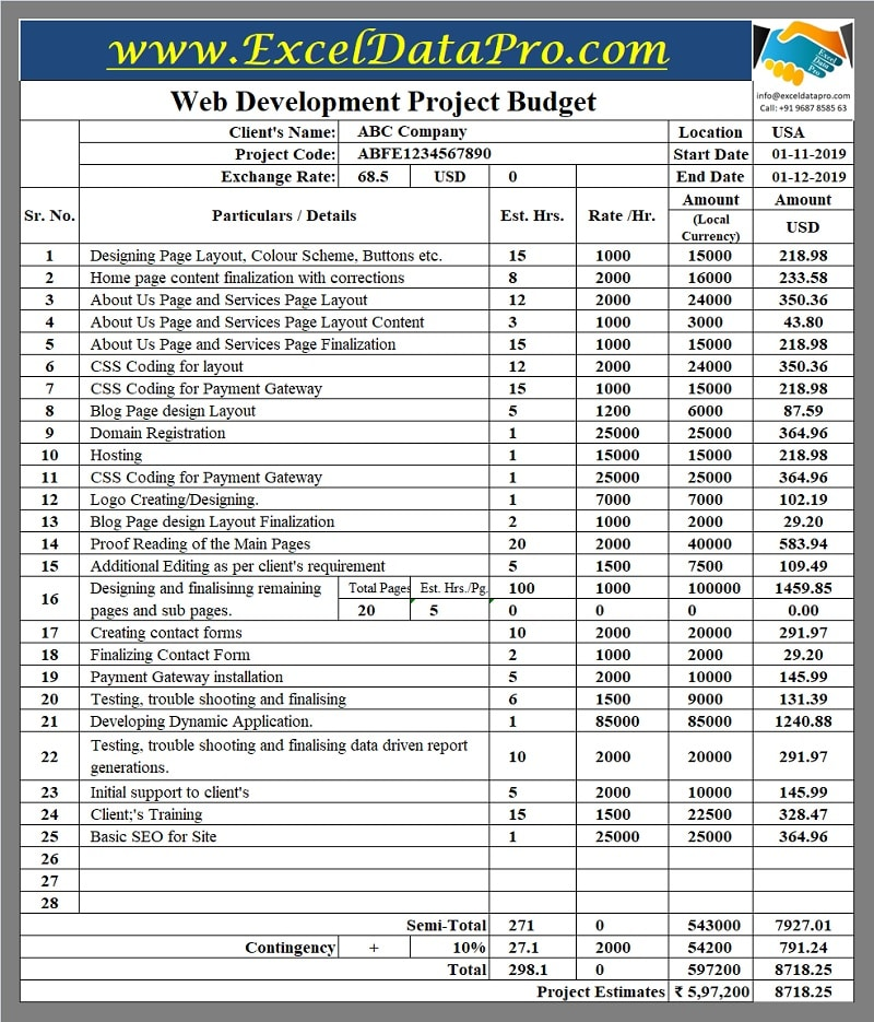 Printable Web Development Project Budget