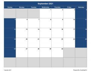 2021 Monthly Calendar