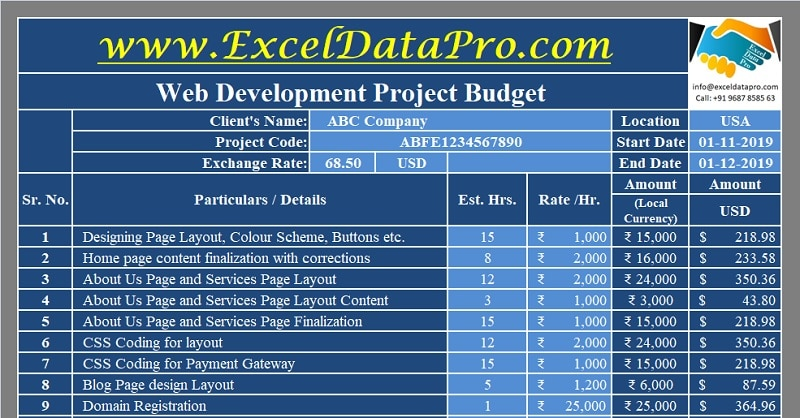 Web Development Project Budget