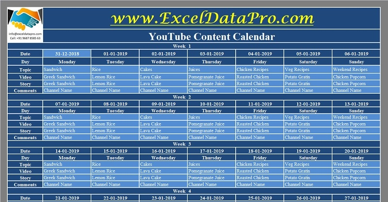 Download YouTube Content Calendar Excel Template