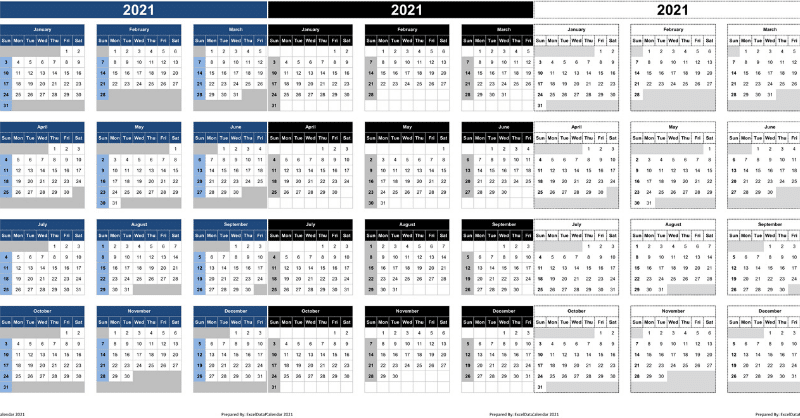 Calendar 2021 Excel Templates, Printable PDFs & Images