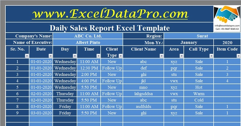 Download Daily Sales Report Excel Template