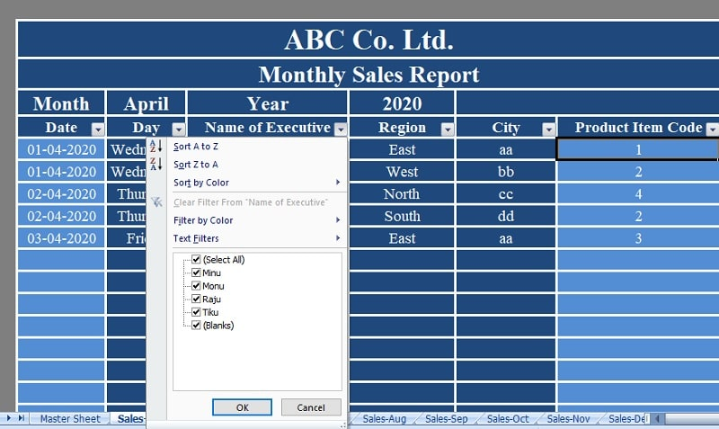 Monthly Sales Reports