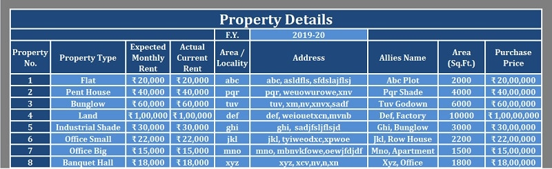 Rental Property Management Excel Template