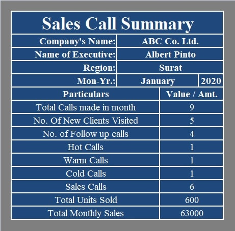 Monthly Sales Summary