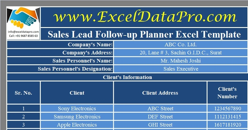 Download Sales Lead Follow-Up Planner Excel Template