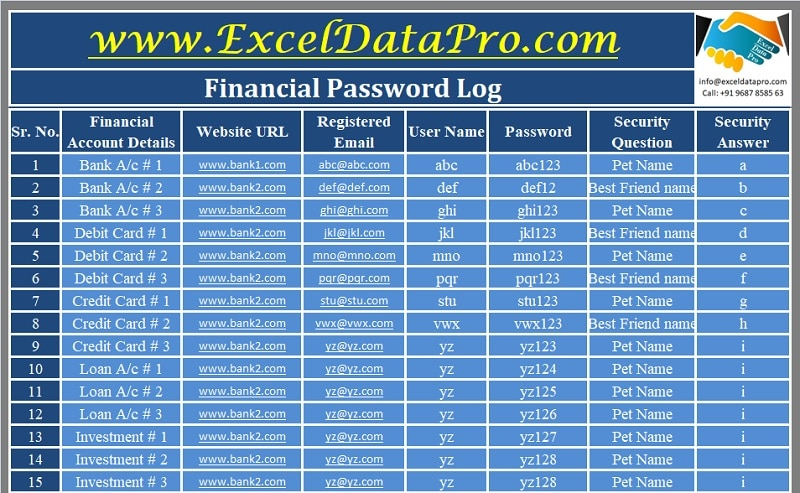 Financial Password Log