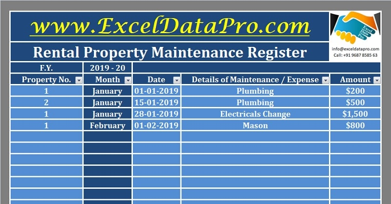 Download Rental Property Maintenance Register Excel Template