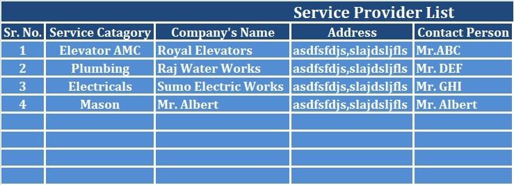Service Provider Sheet