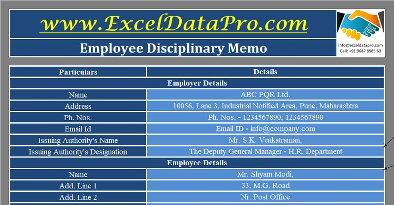 Download Employee Disciplinary Memo Excel Template