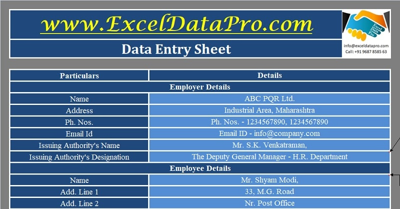 Download Employee Transfer Letter Excel Template