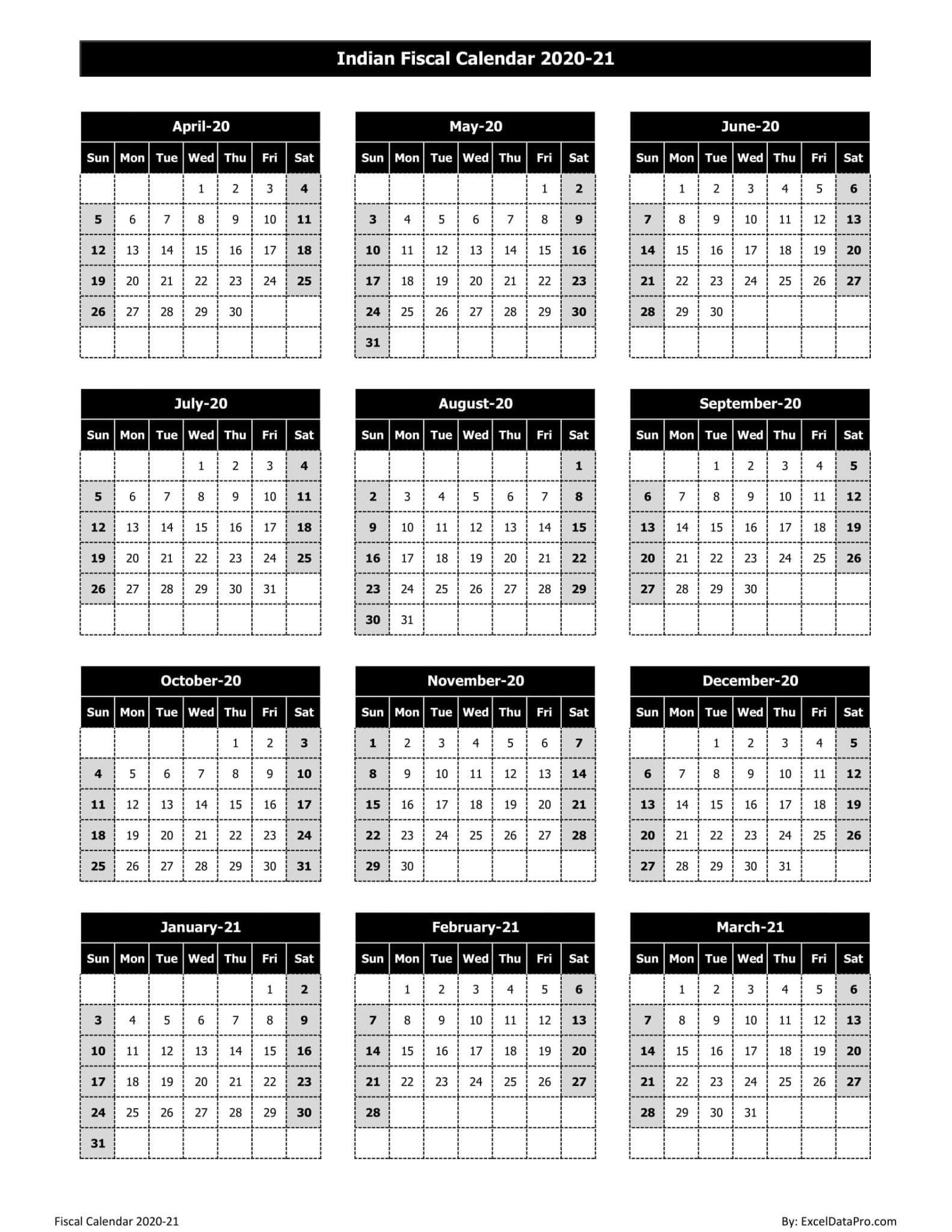 Indian Fiscal Calendar 2020-21 - Black & White