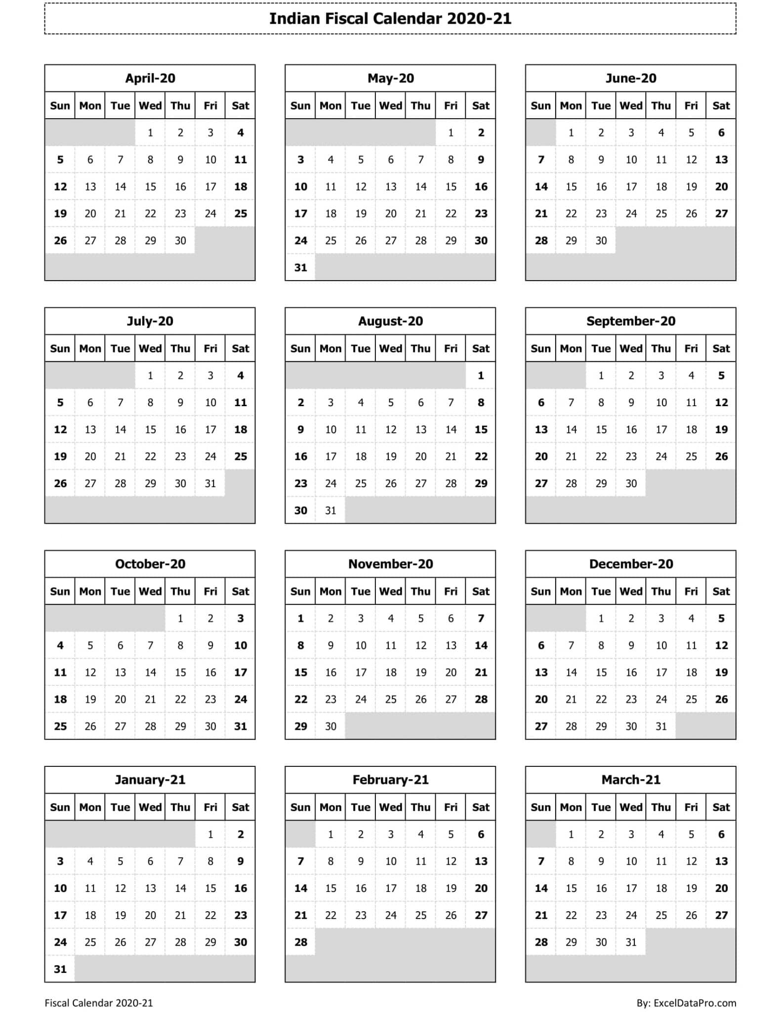 Indian Fiscal Calendar 2020-21 - Ink Saver