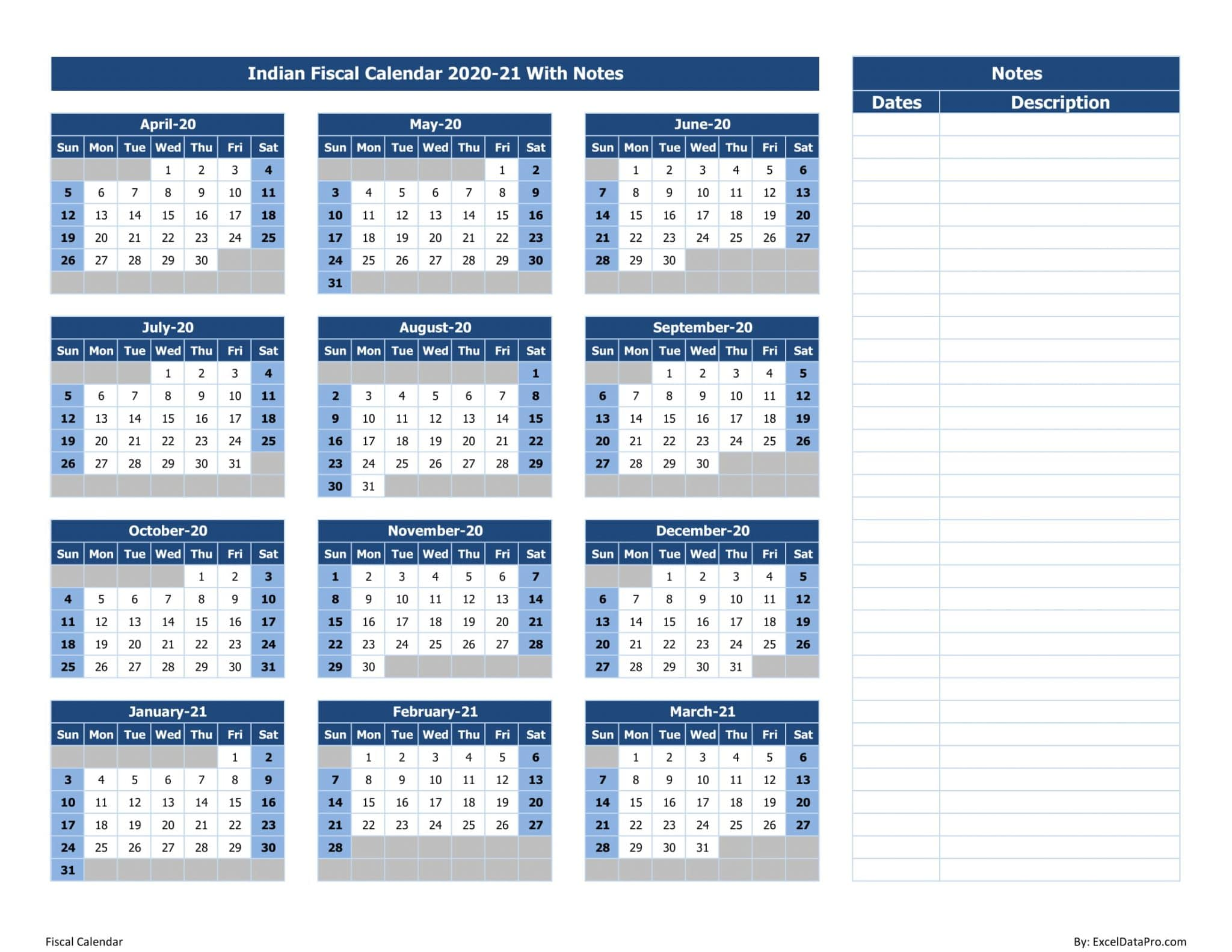 Indian Fiscal Calendar 2020-21 With Notes