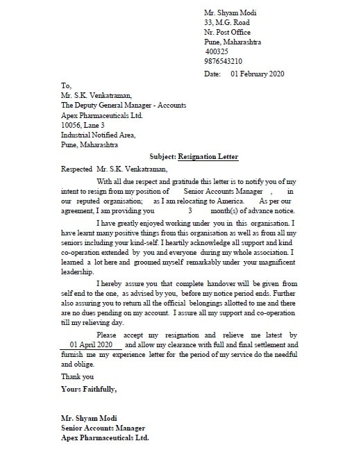 Professional Resignation Letter Excel Template