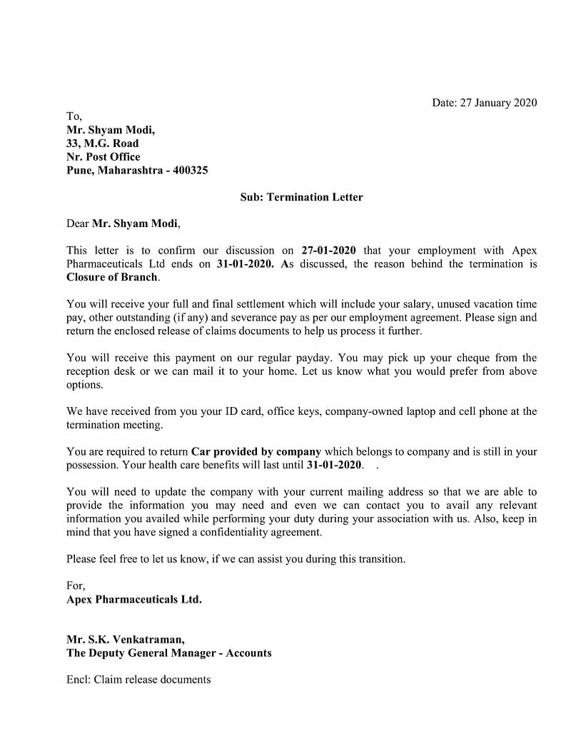 Simple Termination Letter