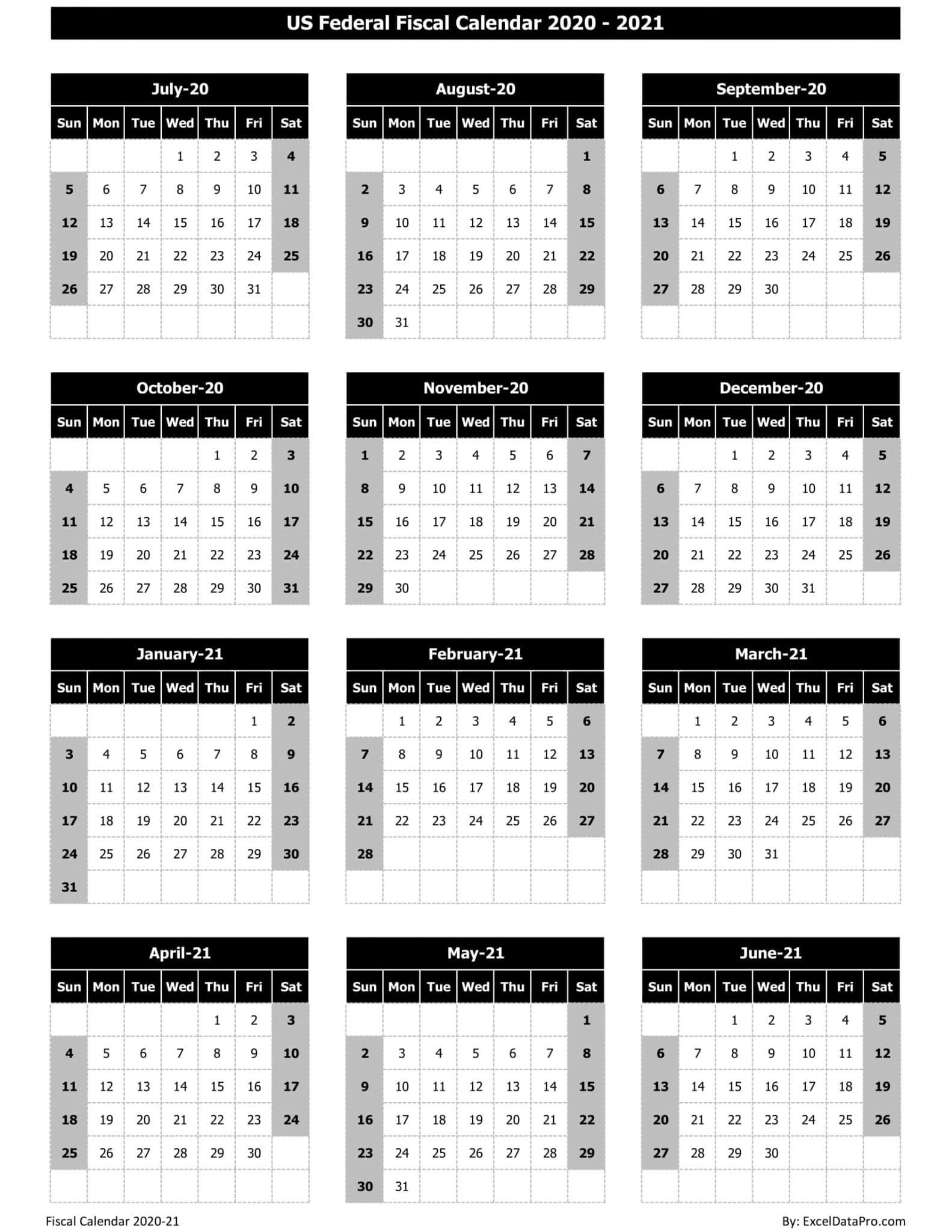 US Federal Fiscal Calendar 2020-21 - Black & White
