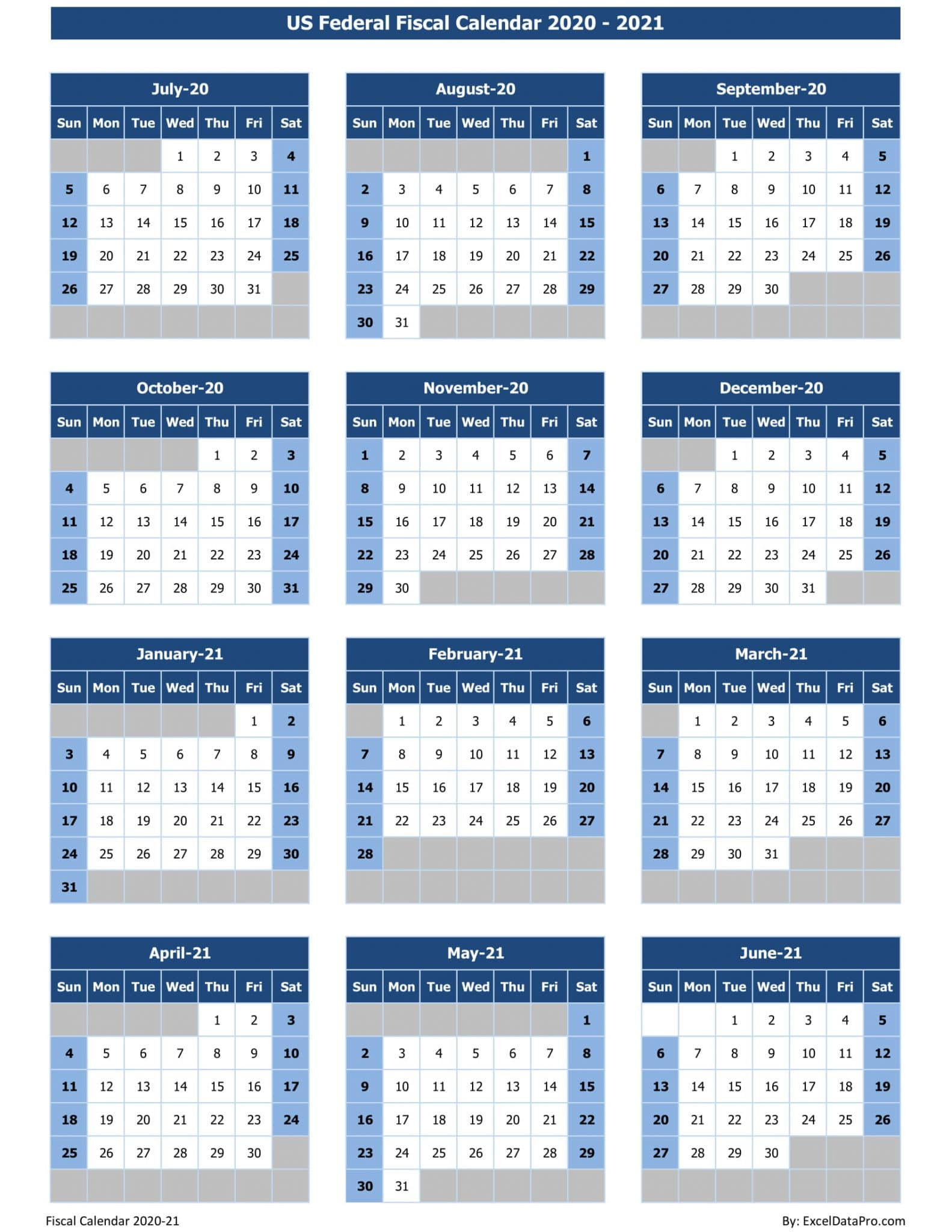 US Federal Fiscal Calendar 2020-21 - Colored