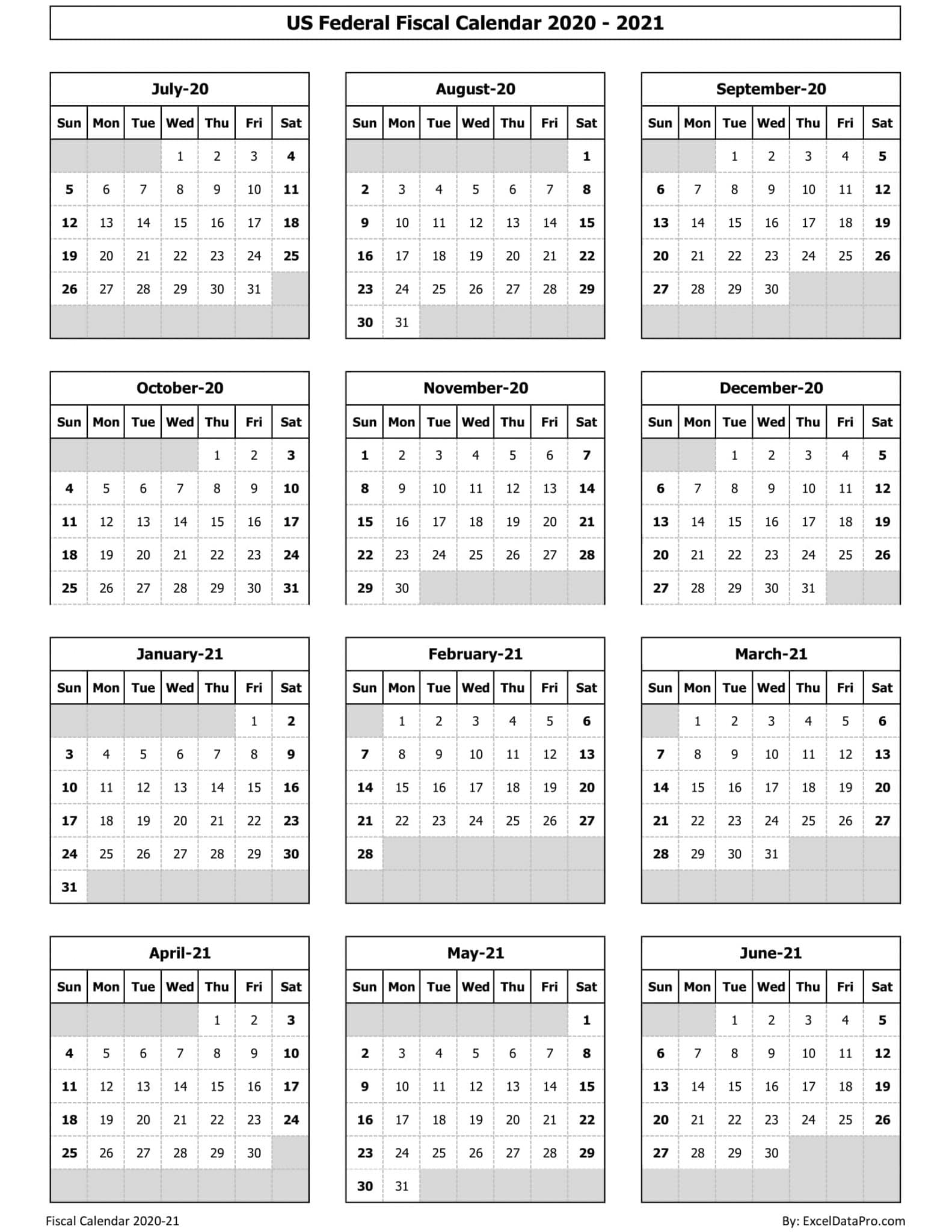 US FedUS Federal Fiscal Calendar 2020-21 - Ink Savereral Fiscal Calendar 2020-21