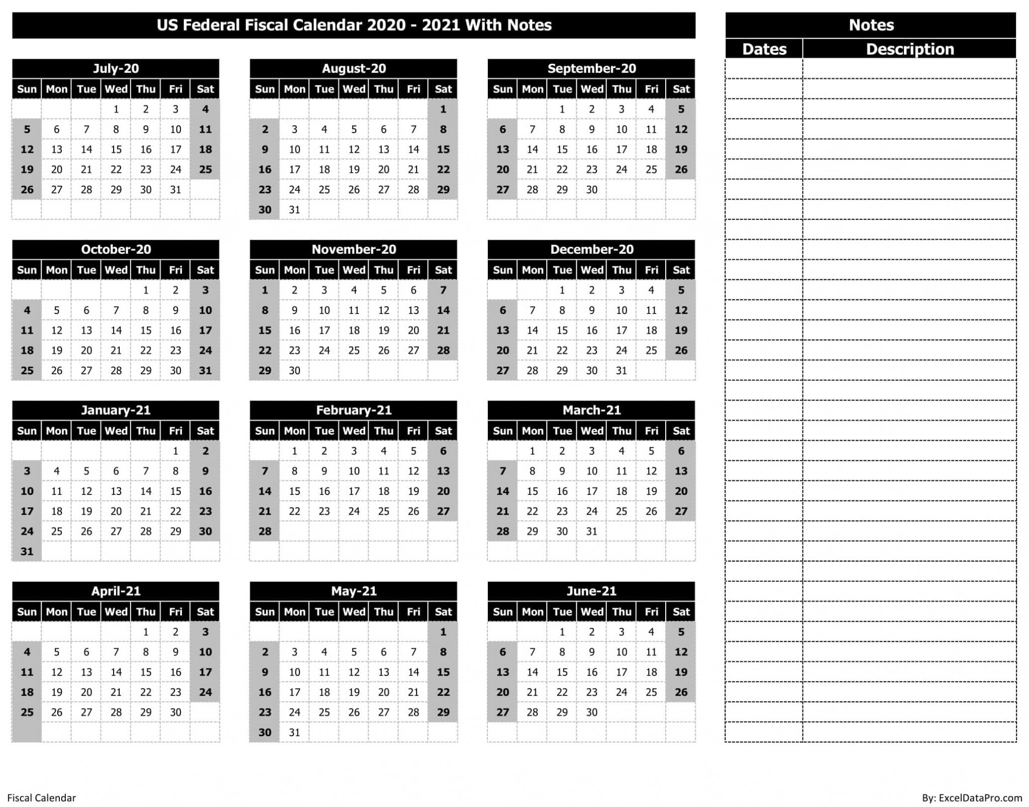 US Federal Fiscal Calendar 2020-21 With Notes - BnW