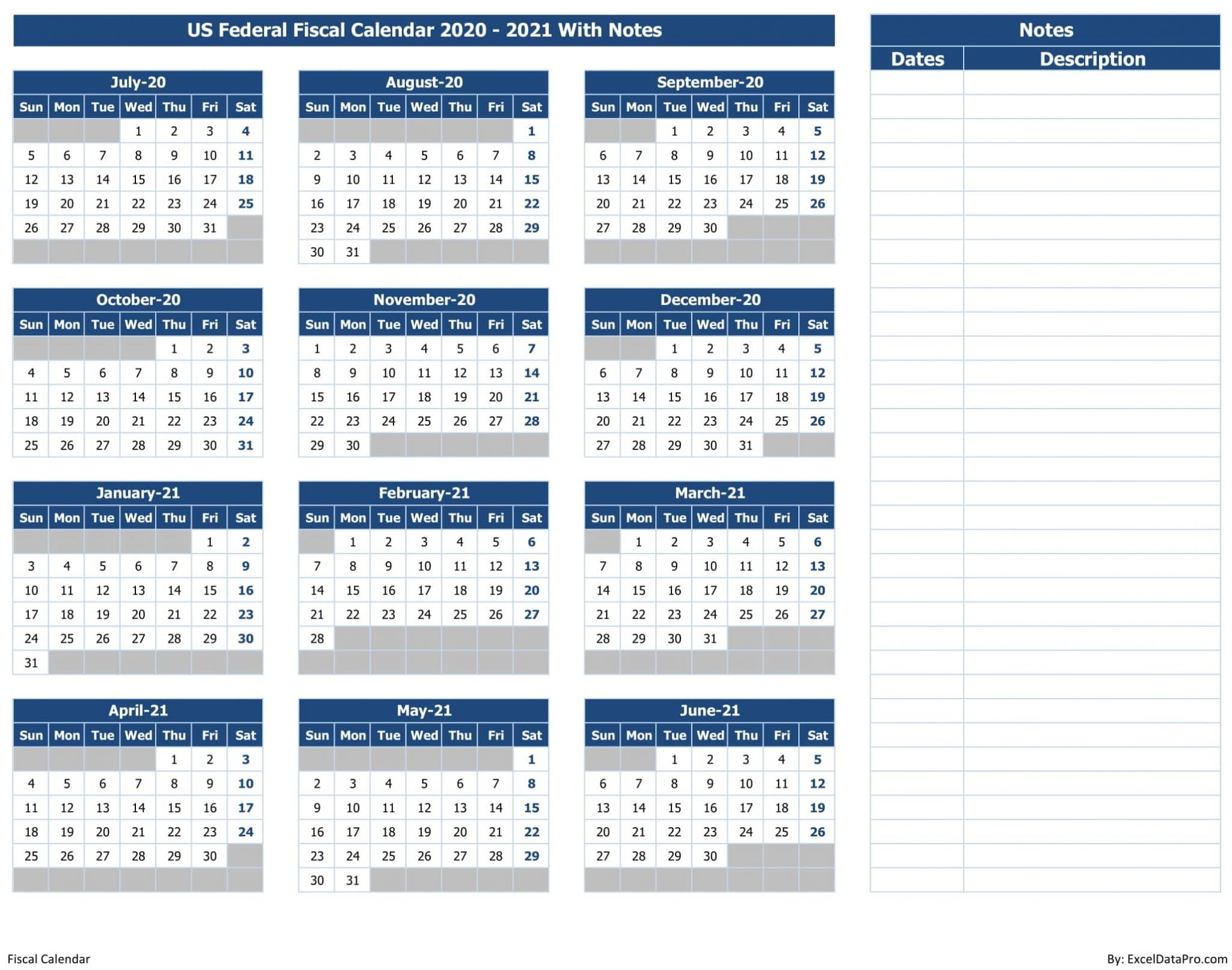 US Federal Fiscal Calendar 2020-21 With Notes - Colored