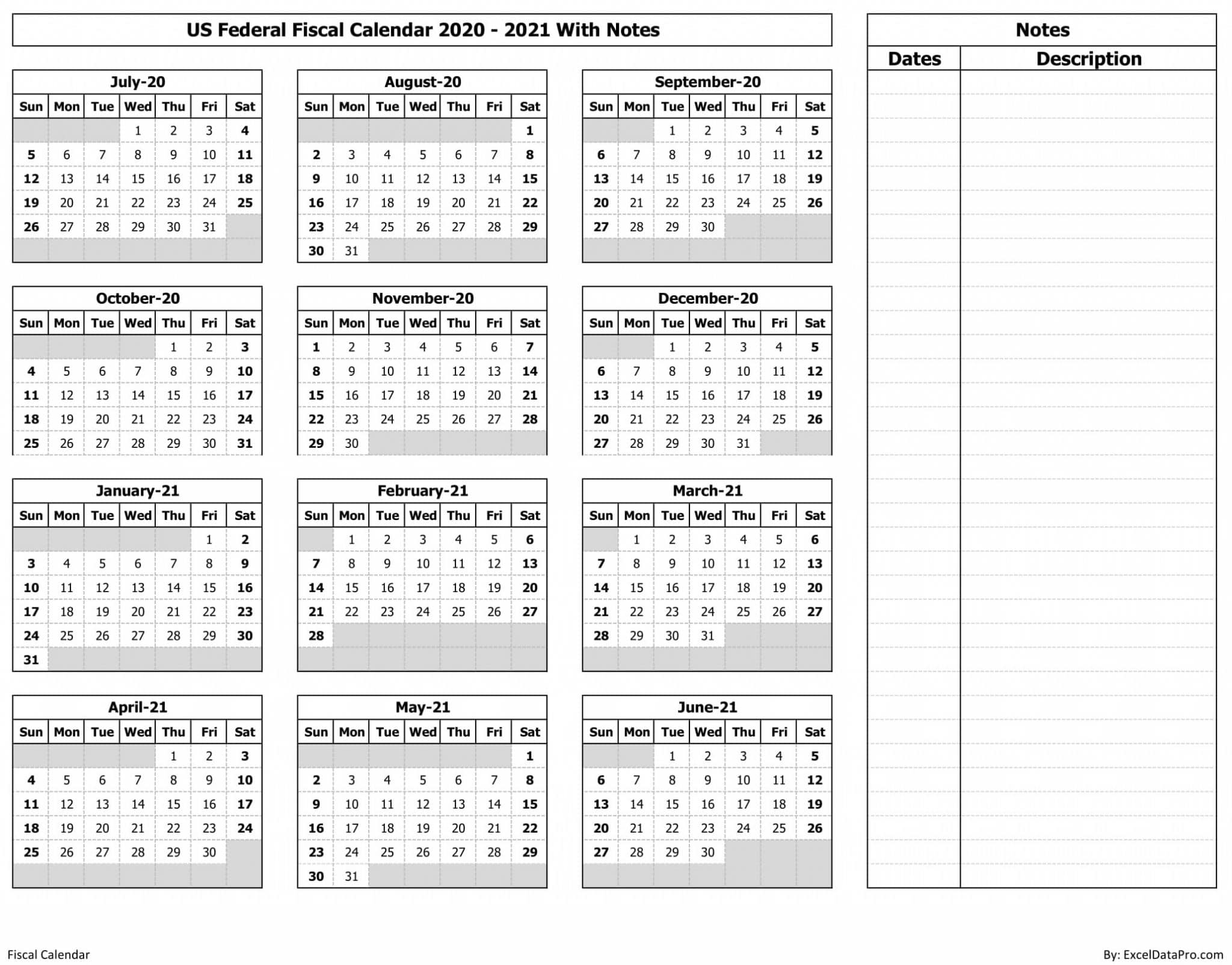 US Federal Fiscal Calendar 2020-21 With Notes - Ink Saver