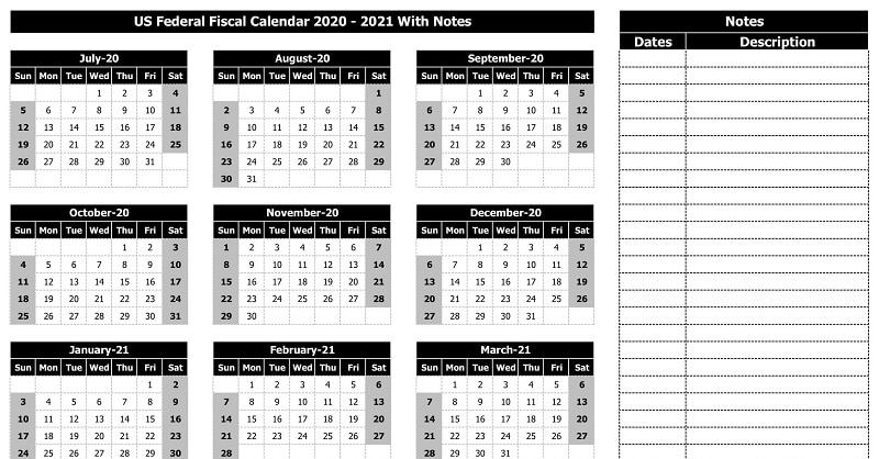 US Federal Fiscal Calendar 2020-21 With Notes