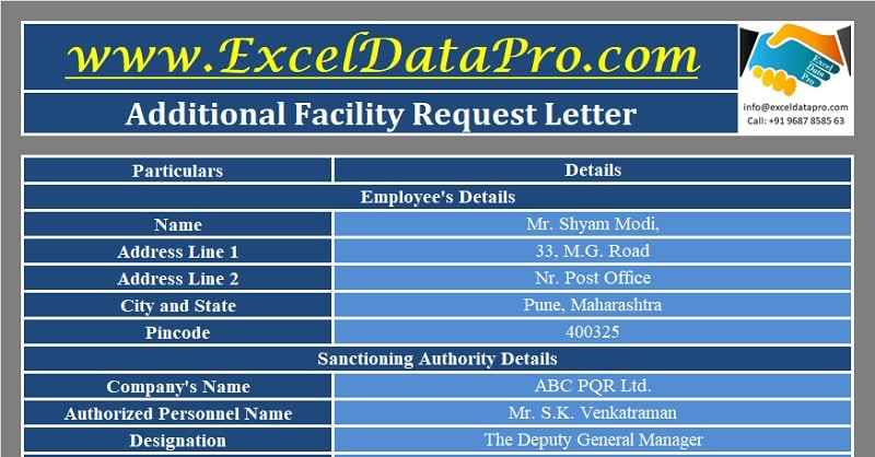 Download Additional Facility Request Letter Excel Template