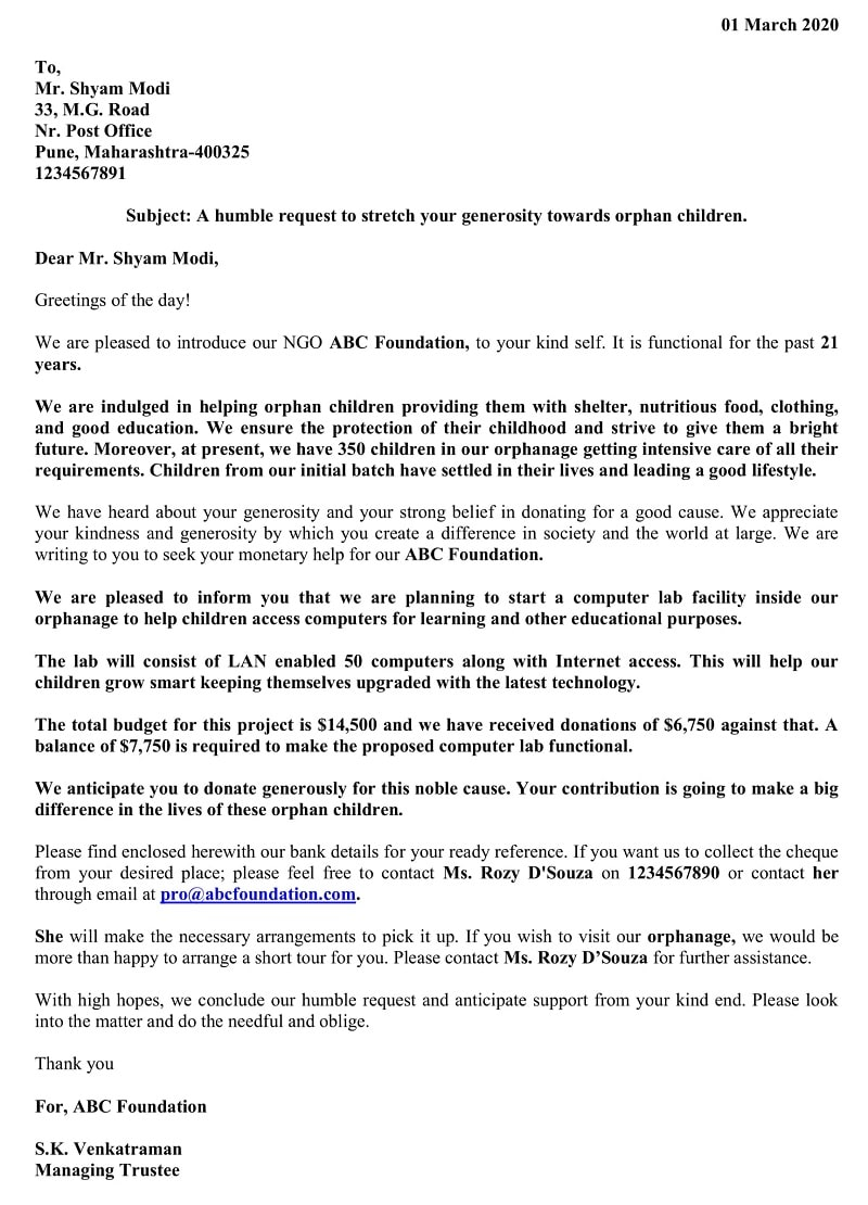 Donation Request Letter - New Donor