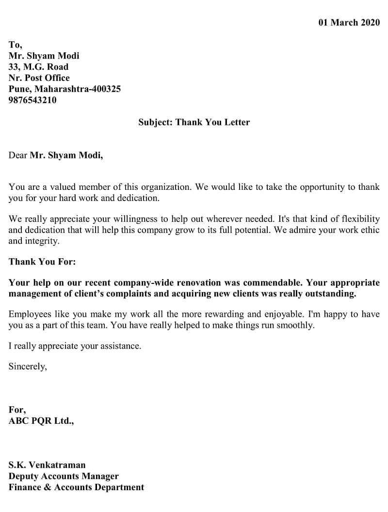 Employee Thank You Letter - Handling customer during renovation