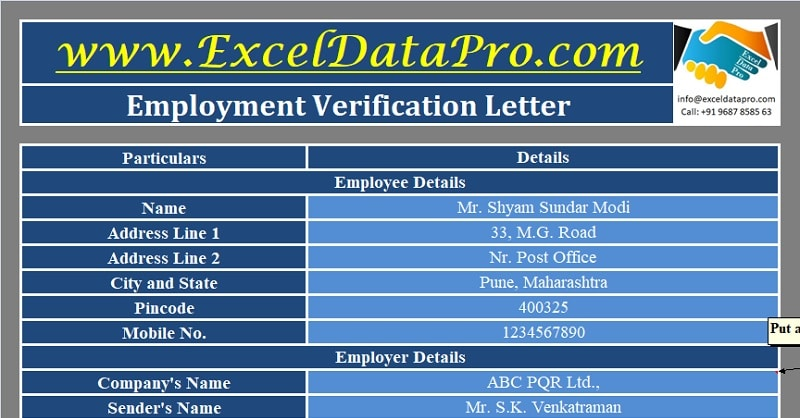 Download Employment Verification Letter Excel Template