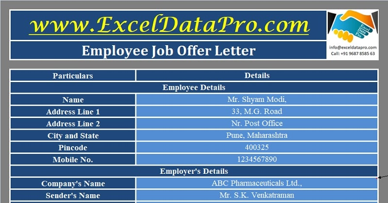 Download Job Offer Letter Excel Template
