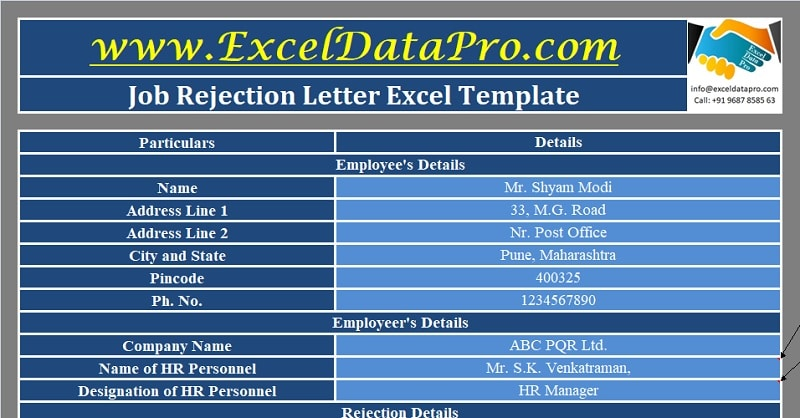 Download Job Rejection Letter Excel Template