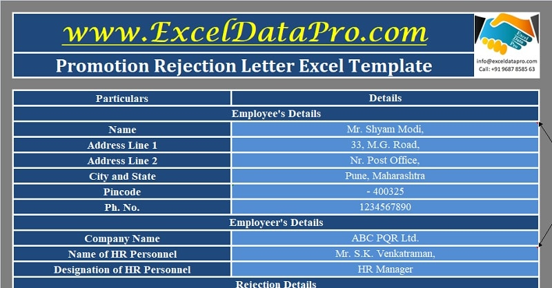 Download Promotion Rejection Letter Excel Template